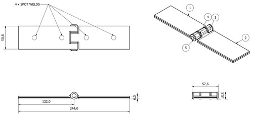 2 Pack Long Weld-on Butt Hinge Heavy Duty with Bushes 240x50mm Industrial