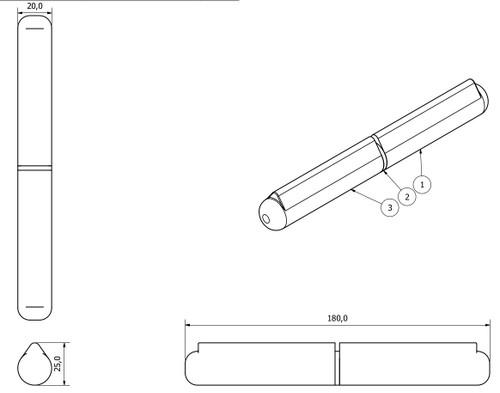 4 Pack Lift Off Bullet Hinge Weld On Brass Bush 20x180mm Heavy Duty Industrial