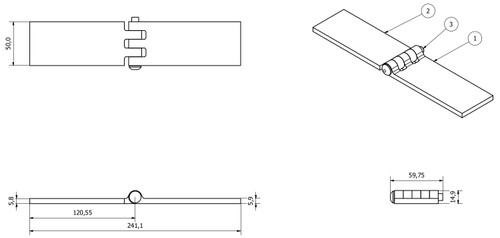 4 Pack Solid Drawn Steel Butt Hinge Extra Heavy Duty Industrial 50x240mm