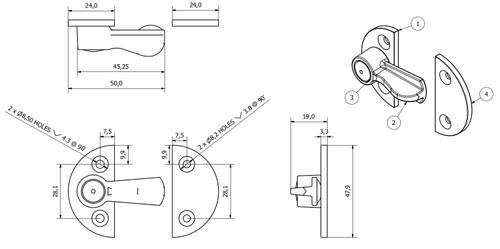 2 x Gravelly Fastener Swivel Toggle Catch Lock Trailer Number Plate Clip Medium