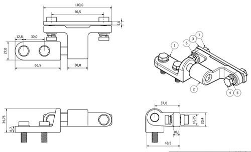 Bolt On Tailboard Lug & Eyelet Set Tailgate Dropside Forged Steel 12mm Shaft