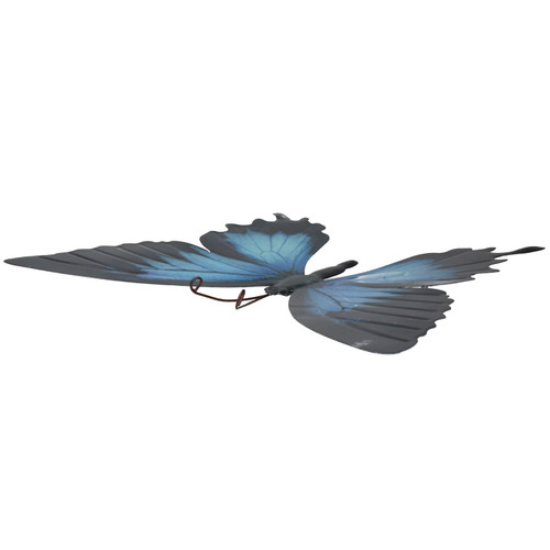 Blue & Black Metal Butterfly Garden/Home Wall Art Ornament 35x32cm
