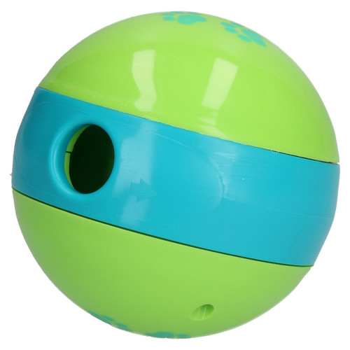 "4.5"" Green and Blue Dog Treat Ball Dispenser Interactive Slow Feed Puppy Toy"