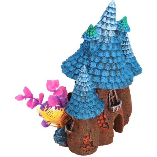 Aquatic Aquarium Blue Roof Pixie House Fish Tank Ornament 15x11x20cm