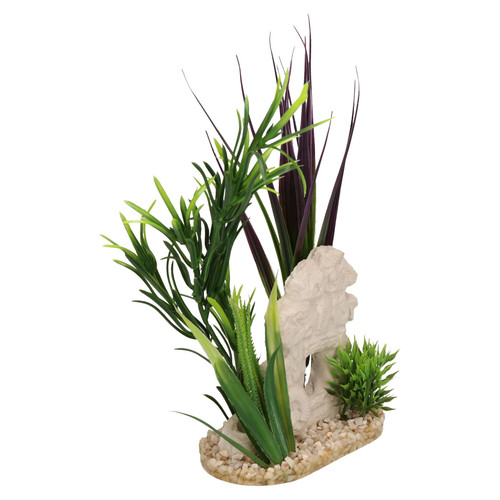 Aquatic Aquarium Aqua Plant Fish Tank Ornament With Flowers Green 6x11x12cm