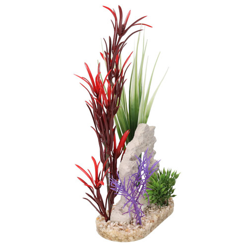 Aquatic Aqua Plant Fish Tank Ornament With Flowers Purple/red 6x11x12cm