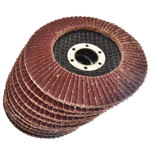 "10 x Flap Discs 60 Grit Angle Grinder 4.5"" (115mm) Flat Sanding Grinding AT929"