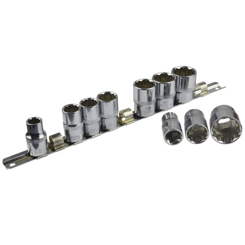 """10pc Imperial SAE AF 7/16"""" - 1"""" Sockets 12 Point On Rail Shallow 1/2"""" dr AT938"""