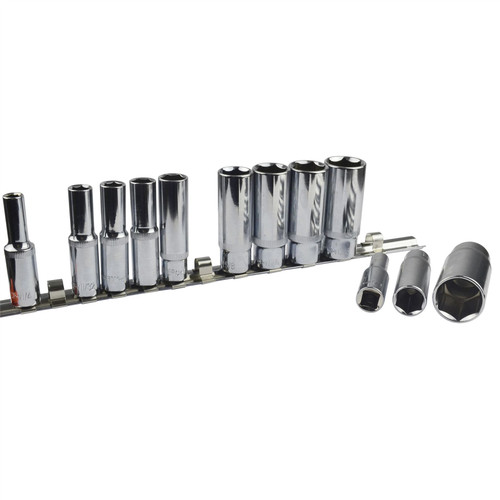 """12pc Imperial SAE AF 1/4"""" - 7/8"""" Sockets 6 Point On Rail Deep 3/8"""" dr AT939"""