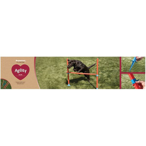 Easy Assemble Dog Pet Agility Hurdle With 6 Height Positions Fun Exercise.