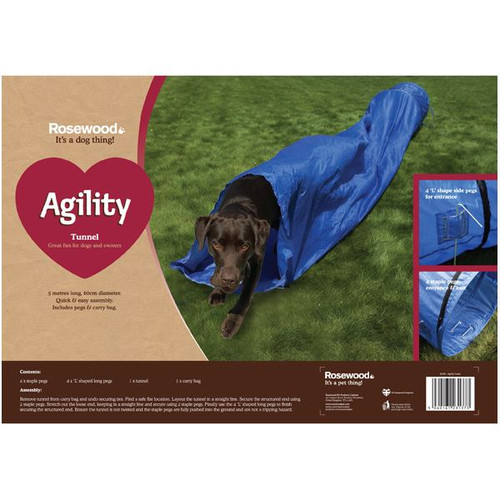 Easy Assemble Dog Pet Agility Tunnel Fun Exercise.5 metres long x 60cm Diameter