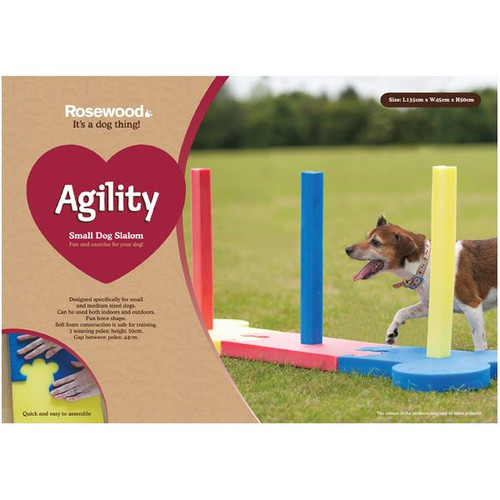 Small Dog Soft Rigid Foam Easy Assemble Agility Slalom Fun Exercise 134x45x54
