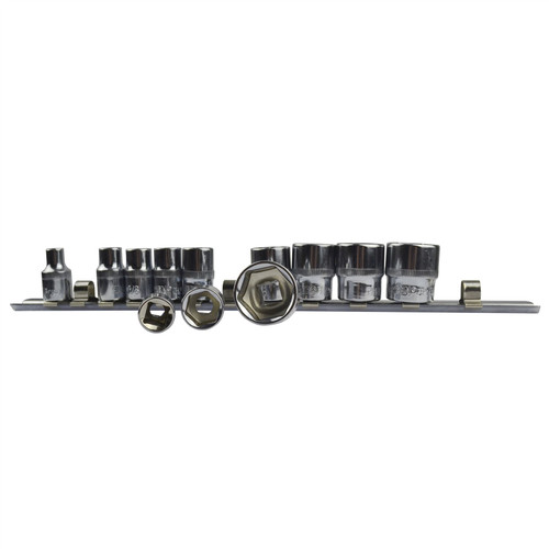 """12pc Imperial SAE AF 1/4"""" - 7/8"""" Sockets 6 Point With Rail Shallow 3/8"""" dr AT941"""