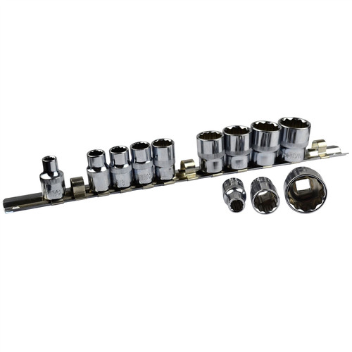 """12pc Imperial SAE AF 1/4"""" - 7/8"""" Sockets 12 Point On Rail Shallow 3/8"""" dr AT946"""