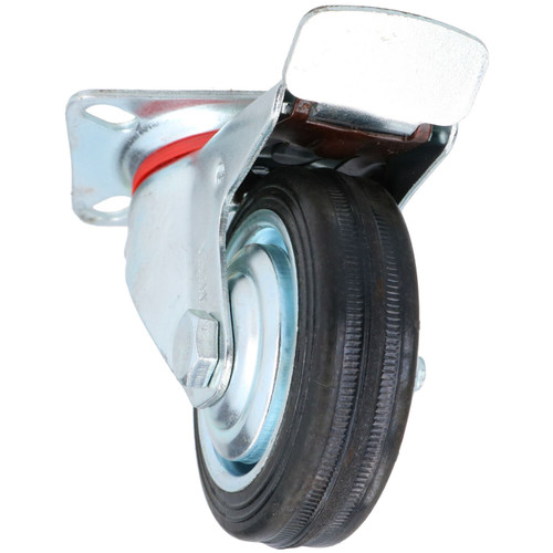 """3"""" / 75mm Rubber Swivel Trolley Castor Wheel With Brake For Furniture 2 Pack"""
