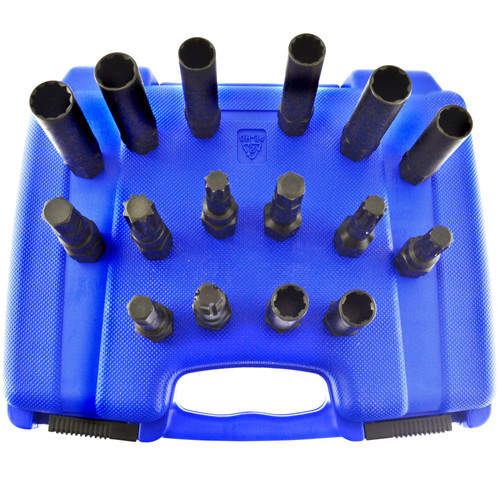 16pc Master Locking Wheel Lug Nut Removal Key Star Spline Torx Flute Hex AT965