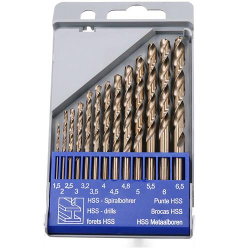 13pc HSS Cobalt Twist Drill Bit Set Metric MM Sizes 1.5mm - 6.5mm Drilling