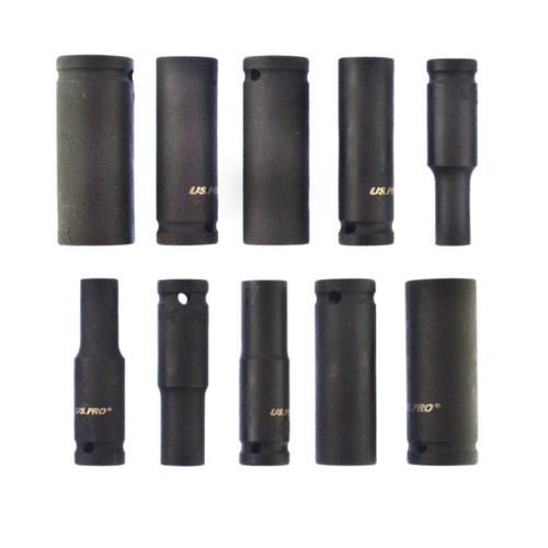 "10pc 1/2"" dr European Deep Impact Sockets Metric Thin Wall 10-24 mm US Pro AT979"