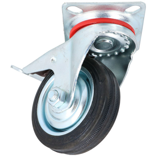 """3"""" / 75mm Rubber Swivel Trolley Castor Wheel With Brake For Furniture 1 Pack"""