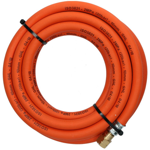 """Single Propane Fitted Rubber Hose Pipe Cutting & Welding 5M 3/8"""" BSP Gas"""