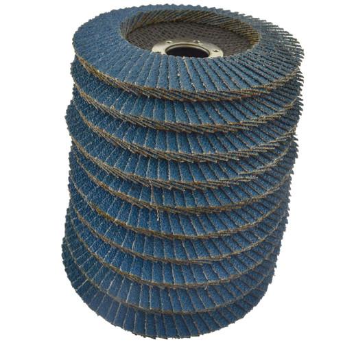 """10 x Zirconium Flap Discs 36 Grit Angle Grinder 4.5"""" (115mm) Flat Sanding AU008"""