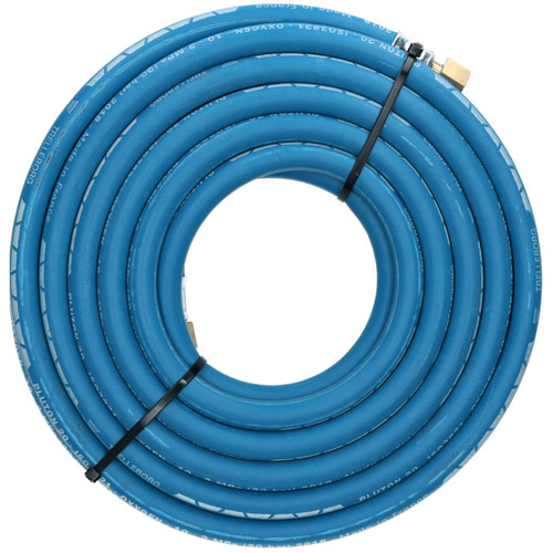 """Single Oxygen Fitted Rubber Hose Pipe Cutting & Welding 10M 3/8"""" BSP Gas Blue"""