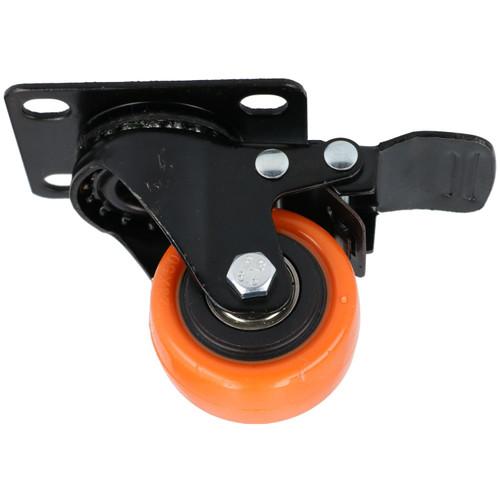 """2"""" Swivel PVC Trolley Castor Wheel With Brake Roller Bearings 70kg Load 4pc"""