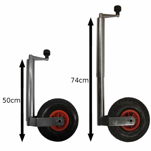 48mm Pneumatic Puncture Proof Jockey Wheel & Clamp Caravan Trailer Blow Up