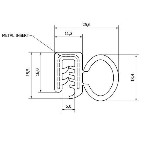 4.8m Rubber Extruded Door Seal for MG Midget & Austin Sprite OEM Grade