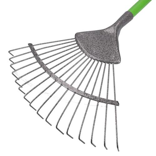 16 Teeth Soil Garden Rake Tubular Handle Carbon Steel 155cm Soil Leaf Raker
