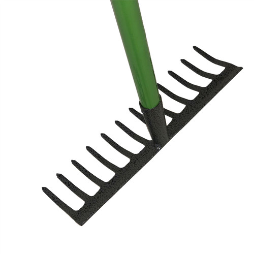 12 Teeth Soil Garden Rake Tubular Handle Carbon Steel 120cm Soil Leaf Raker