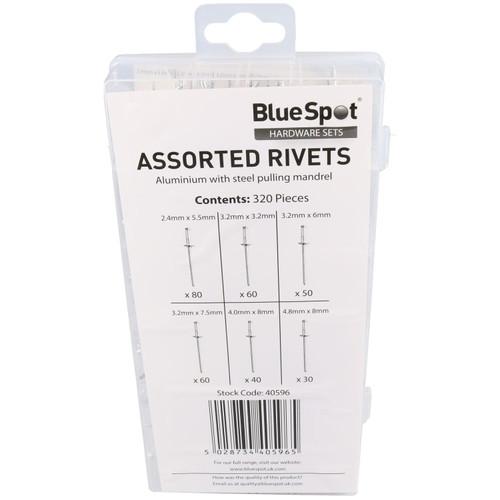 Single Hand Compact Pot Pop Riveter Rivet Tool 2.4mm - 4.8mm + 320 Alu Rivets