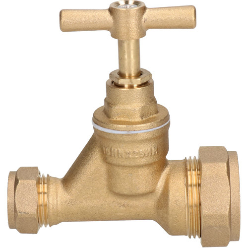 25 x 15mm Poly Stop Cock Mains Shut-Off Copper MDPE Burst Pipe Compression