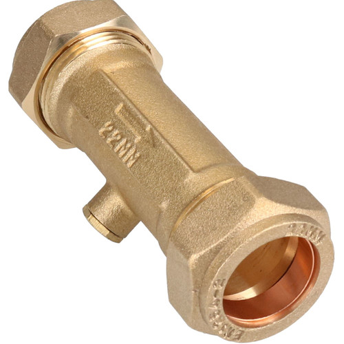 22mm Brass Double Check Valve One-Way Non-Return Compression Fittings WRAS