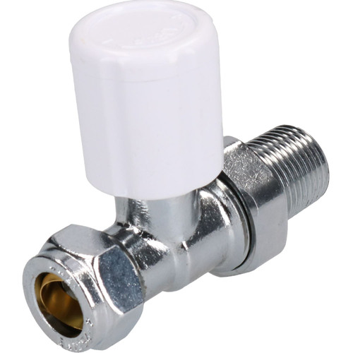 15mm Chrome-Plated Inline Brass Radiator Valve Straight Adjustable Lockshield