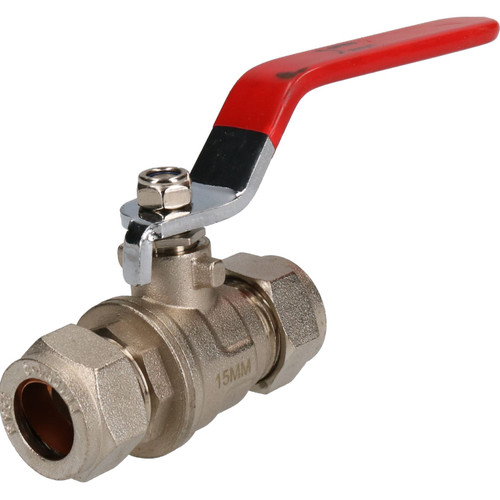 15mm Lever Ball Valve Red Handle Brass Compression Fitting Stop Shut-off PN25