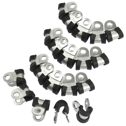 "Brake Pipe Clips Rubber Lined P Clips 3/16"" lines Pack of 10 FL28"