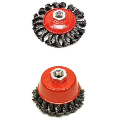 "Angle Grinder 4-1/2"" (115mm) Twist Knot 1 x Cup Brush & 1 x Bevel Brush"