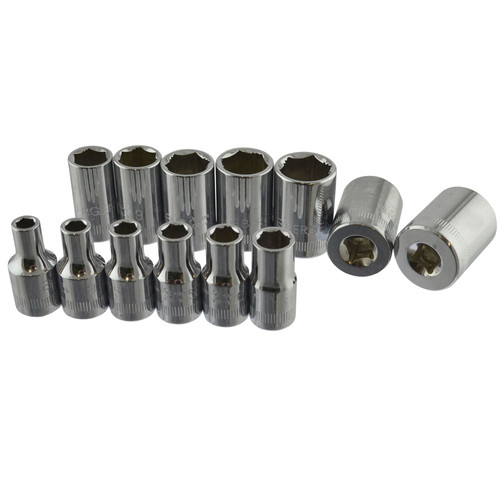 """13pc 1/4"""" drive XI-ON sockets metric 4mm - 14mm suitable for rounded nuts AT064"""