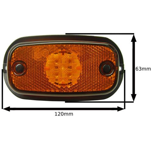 Amber / Orange LED Side Marker Light Trailer Caravan Van 12V or 24V PAIR TR118
