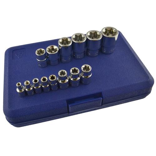 """Female Torx / E sockets E4 - E24 14pc kit 1/4"""" / 3/8"""" / 1/2"""" drive BERGEN AT129"""