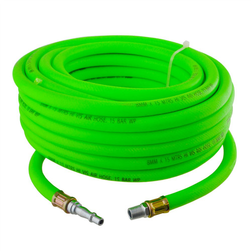 Airline Air Hose High Vis 8mm 15m 50ft Compressor with Quick Release Fittings