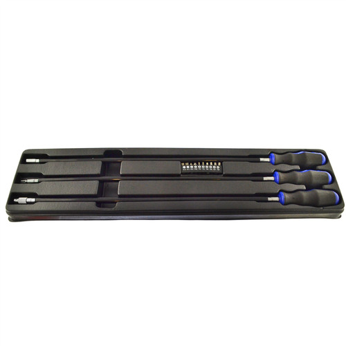 3pc Extra Long Flexi Screwdriver Socket Holder And Bits Set AU042