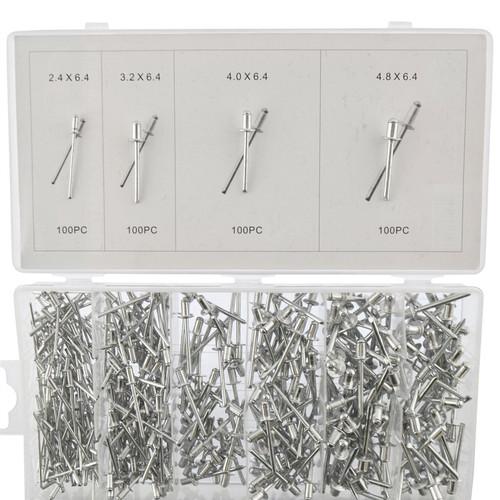 Metric Aluminium Blind Pop Rivets Assortment Set Fastener 2.4 - 6.4mm 400pcs
