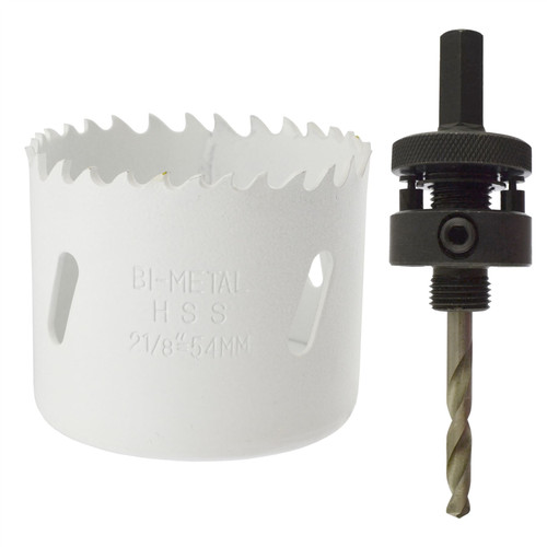 54mm HSS Hole Saw Holesaw Bi-Metal Blade Cutter Drill And Drill Adaptor Arbor