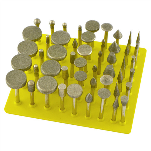 "50pc Diamond Burr Set 120 Grit Carving Engraving Rotary Etching 1/8"" Shank TE886"