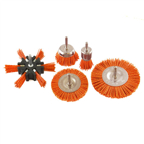 5pc Nylon Abrasive Filament Brush Drill Spindle 6mm Shank De Burring Rust TE876