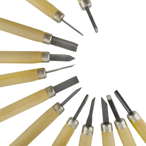 12pc Wood Carving Set Carvers Steel Blade Chisel Carpenting Craft Clay Wax SIL174