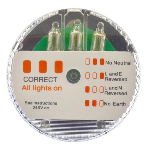 Socket Tester 50mm Diameter 240v Plug Mains Test Checker Electric SIL325