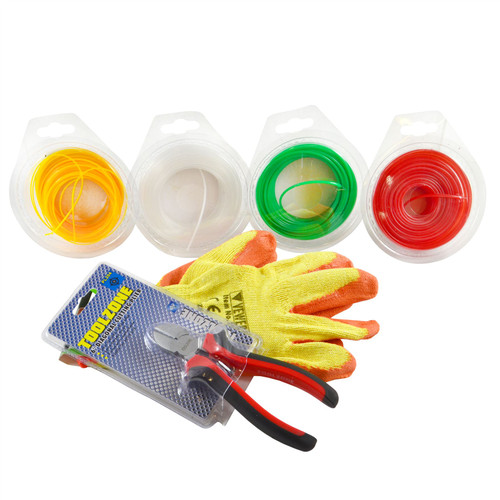 """Strimmer Line Nylon Cord Trim Line Wire & 6"""" Cutting Pliers & Protective Gloves"""